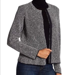 Eileen Fisher Black White Jewel Neck Cardigan